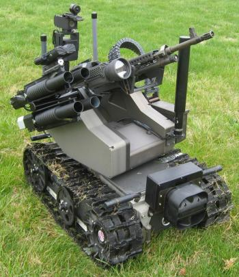 The Army's 350-pound MAARS (Modular Advanced Armed Robotic System) mobile robots, each carrying an M240B medium machine gun.