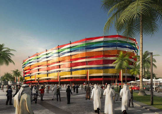 Qatar FIFA World Cup 2022 2 thumb 550x388 Qatar Unveils 5 Solar Stadiums for 2022 World Cup