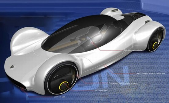 fastest electric car 2 550x335 Electric Concept Car Offers Speed of an Aircraft With Zero Emissions