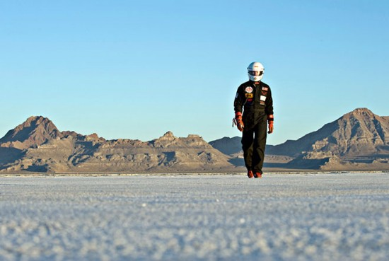Roger Schroer on the salt 550x369 Worlds Fastest Electric Car Hits 307mph