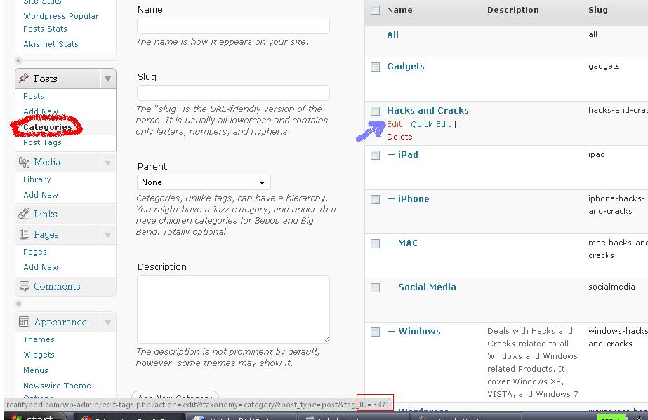 wordpress category find