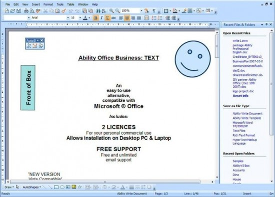 Abilit Write V5 550x395 Top 10 Word Processing Software