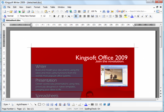 kingsoft write1 550x376 Top 10 Word Processing Software