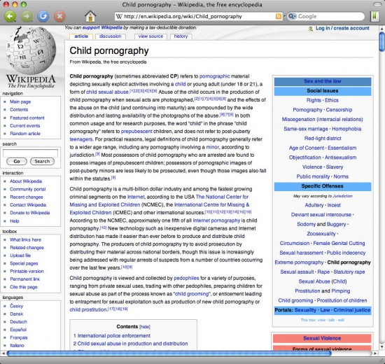 wikipedia child pornography 550x520 Top 10 Search Engines