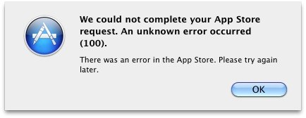How to fix error 100 of Mac app store