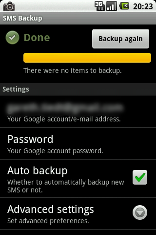 SMS Backup: An App for SMS Backup to Gmail on Android