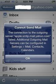 cannot send mail error in iphone