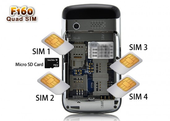 f160 quad sim mobile phone solonomi 2 1 550x392 Worlds First 4 SIM Mobile Phone Launched