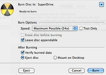 Burn a multisession CDDVD in OS X