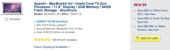 New 2010 MacBook Air Dips Below $900, Refurb $749