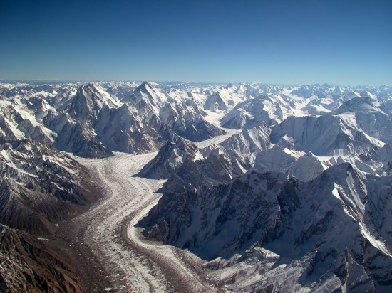 Baltoro glacier from air 550x412 Top 5 Glaciers of Pakistan