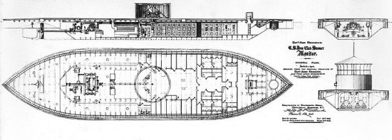 Union Ironclad U.S.S. Monitor plans 550x197 Top Ten Ship Wrecks