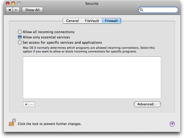 Setting the Mac OS X Firewall