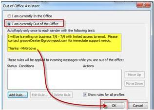 Enable Out of Office assistant Auto Reply in Outlook when you are away from office