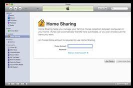 Use and setup of iTunes home sharing