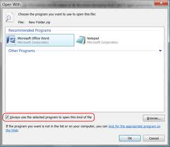 Keep always use selected programs option checked or unchecked