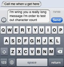 SMS character count on iPhone