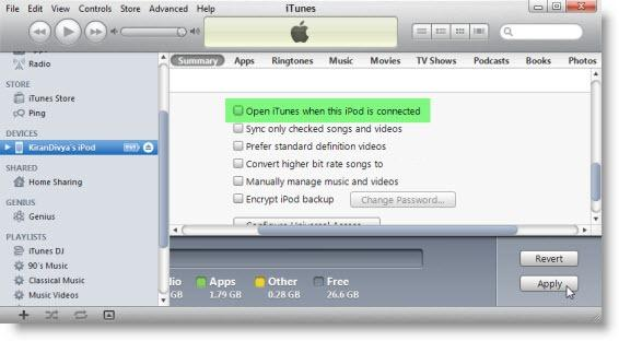 Disabling iTunes from Automatically Opening When iPhone iPod is Connected