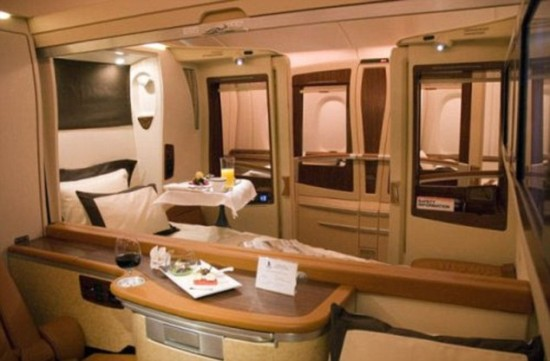 A380 cabins 550x361 Singapore Airline To Offer Private Luxury Suites with Double Beds and Armchairs