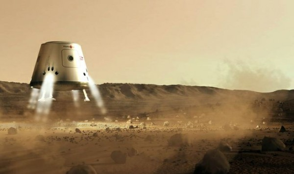 mars on lander 600x354 Mars One   The First Project Of Human Settlement On Mars