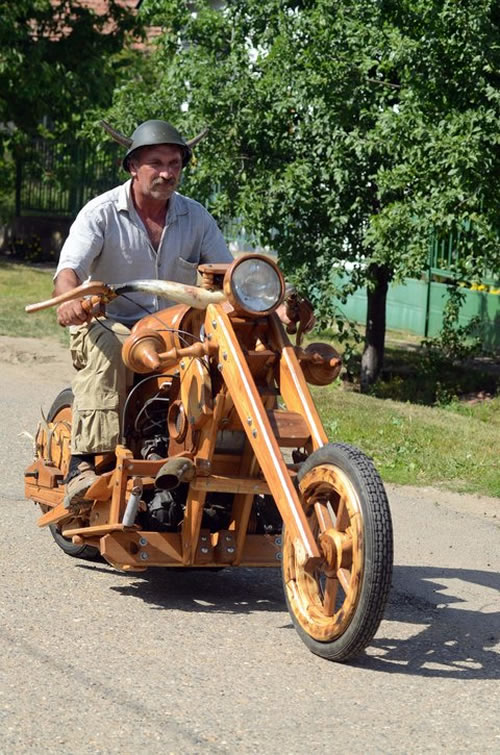 wooden chopper Man Builds His Dream Chopper Out Of Wood