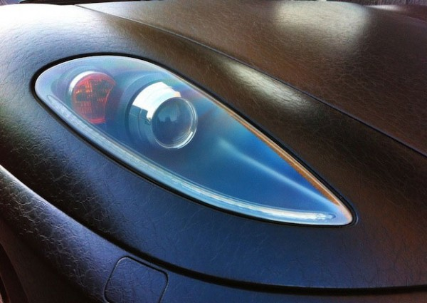 Dartz FR Ferrari F430 Leather Vinyl Wraps exterior headlight details close up view 600x425 Height Of Customization: Ferrari Gets A Leather Exterior