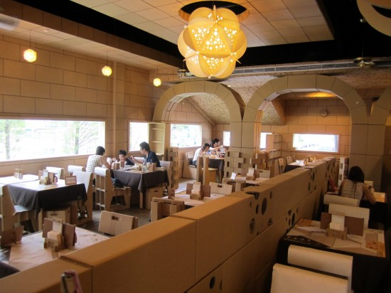 Carton King restaurant 550x412 Cardboard Restaurant Where Everything is Made Of Cardboard Except Your Food