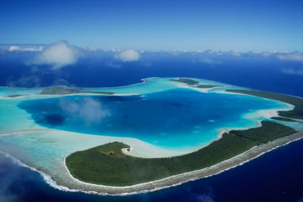 Vue aérienne de l'atoll Tetiaroa (Société)