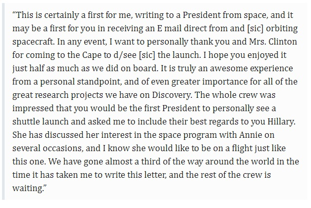 Astronaut Message To Clinton