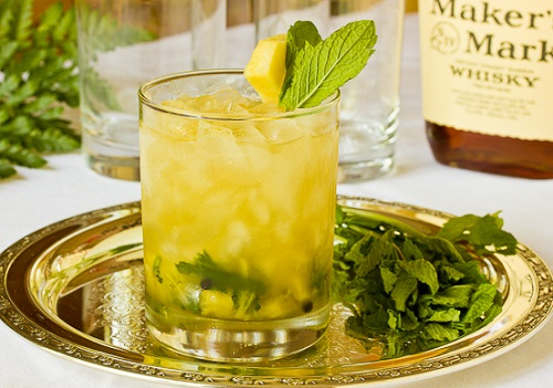 ginger-mint julep with fresh pinapples
