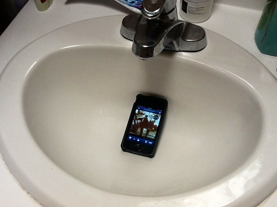phone in sink