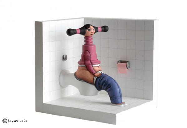 gilbert art girl on toilet