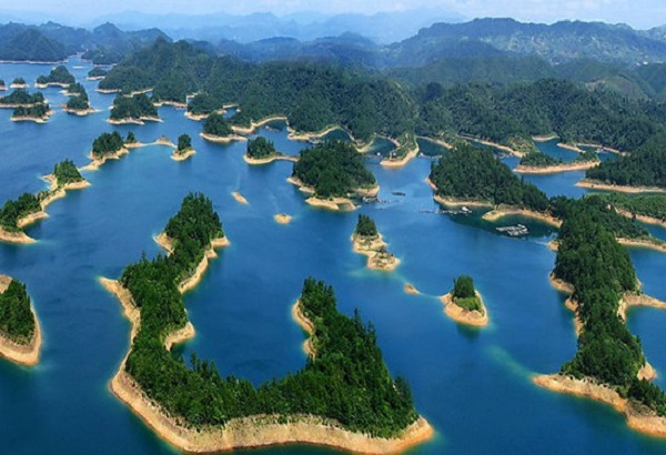 The Quiandao Lake located in the province of Zhejiang, China.