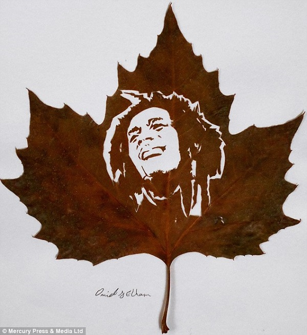 leaves carving bob marley