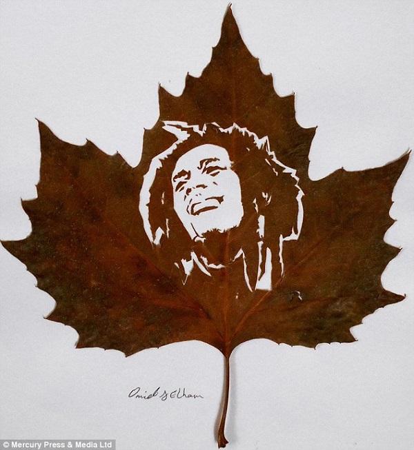 leaves carving bob marley