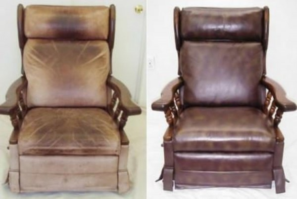 polished leather chair