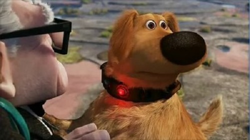 "The harness' technology is similar to the device worn by the dog in the Disney Pixar movie ""Up""."