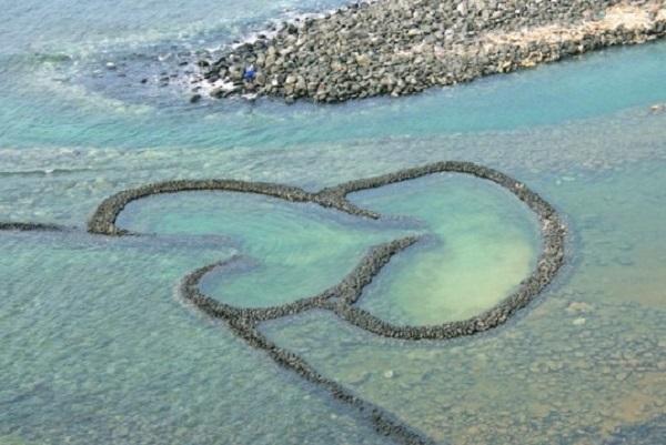 double-heart stone weir