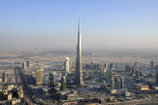 An aerial view of Burj Dubai is seen in Dubai