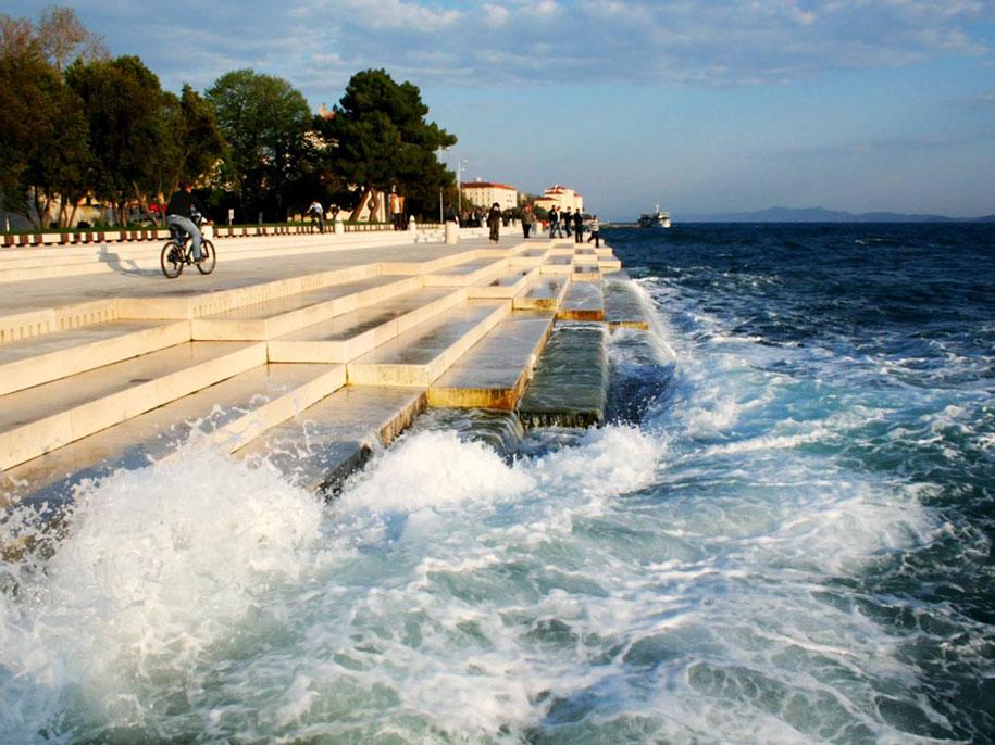 waves beautifully play sea organ at the coast of a