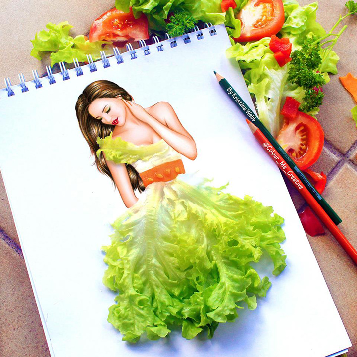 19-Year-Old Completes Her Drawings With Real Objects To