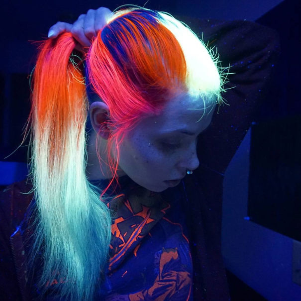 Check Out This Cool New Glow-In-The-Dark Rainbow Hair