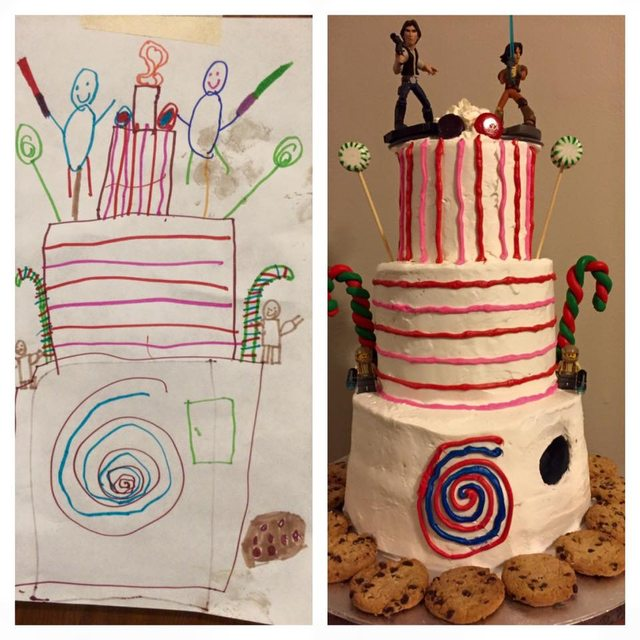 Six Year Old S Dream Cake Design Drawing Is Baked Decorated To A T