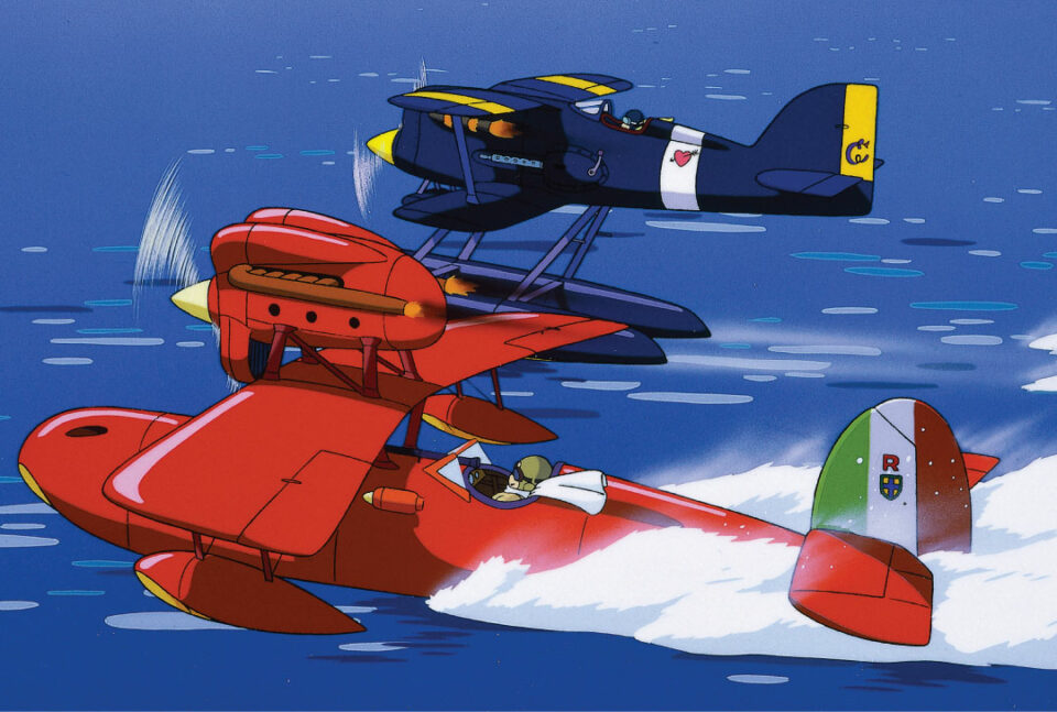 Porco Rosso by Studio Ghibli - red and blue plane side-by-side over water