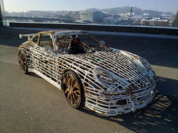 2811f97e08c7c634b11b0f40a787d471 Guy Makes Porsche Car Out of Bicycle