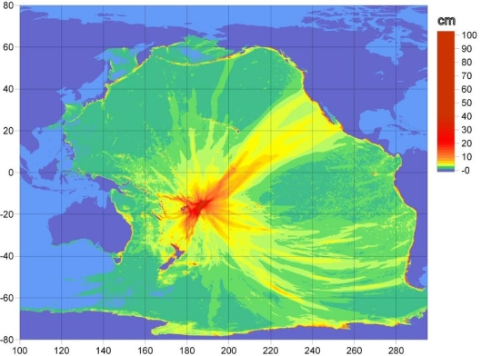 Tsunami propagation map